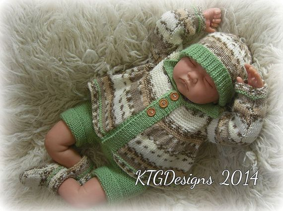 knitting pattern to knit baby boys or reborn matinee cardigan hat bootees set dk pdf digital download easy