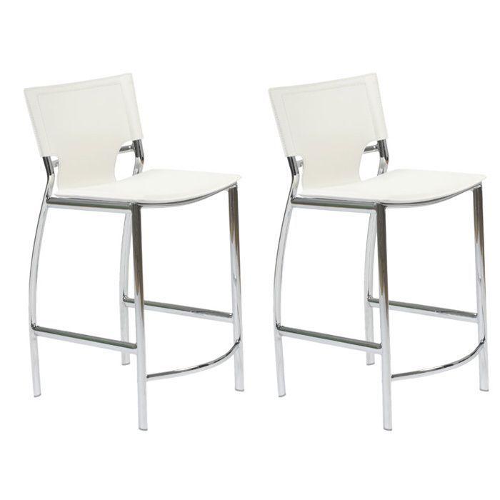 Incredible Euro Style Vinnie White Counter Stool With Chrome Legs Set Machost Co Dining Chair Design Ideas Machostcouk