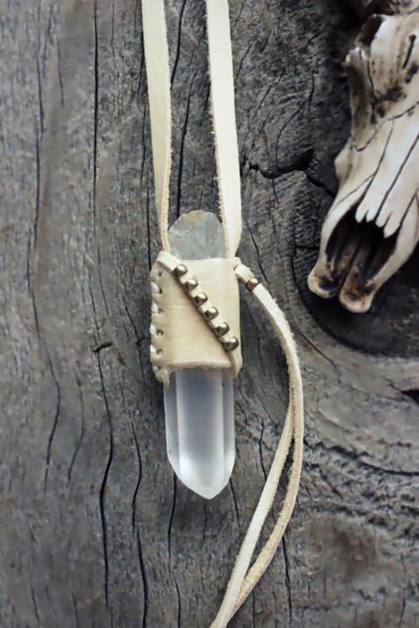 LEMURIAN Natural RAW Crystal Quartz Necklace, Master Healer Quartz, Unisex, Bohemian, Tribal, Boho Leather Neckalce, Nature Inspired