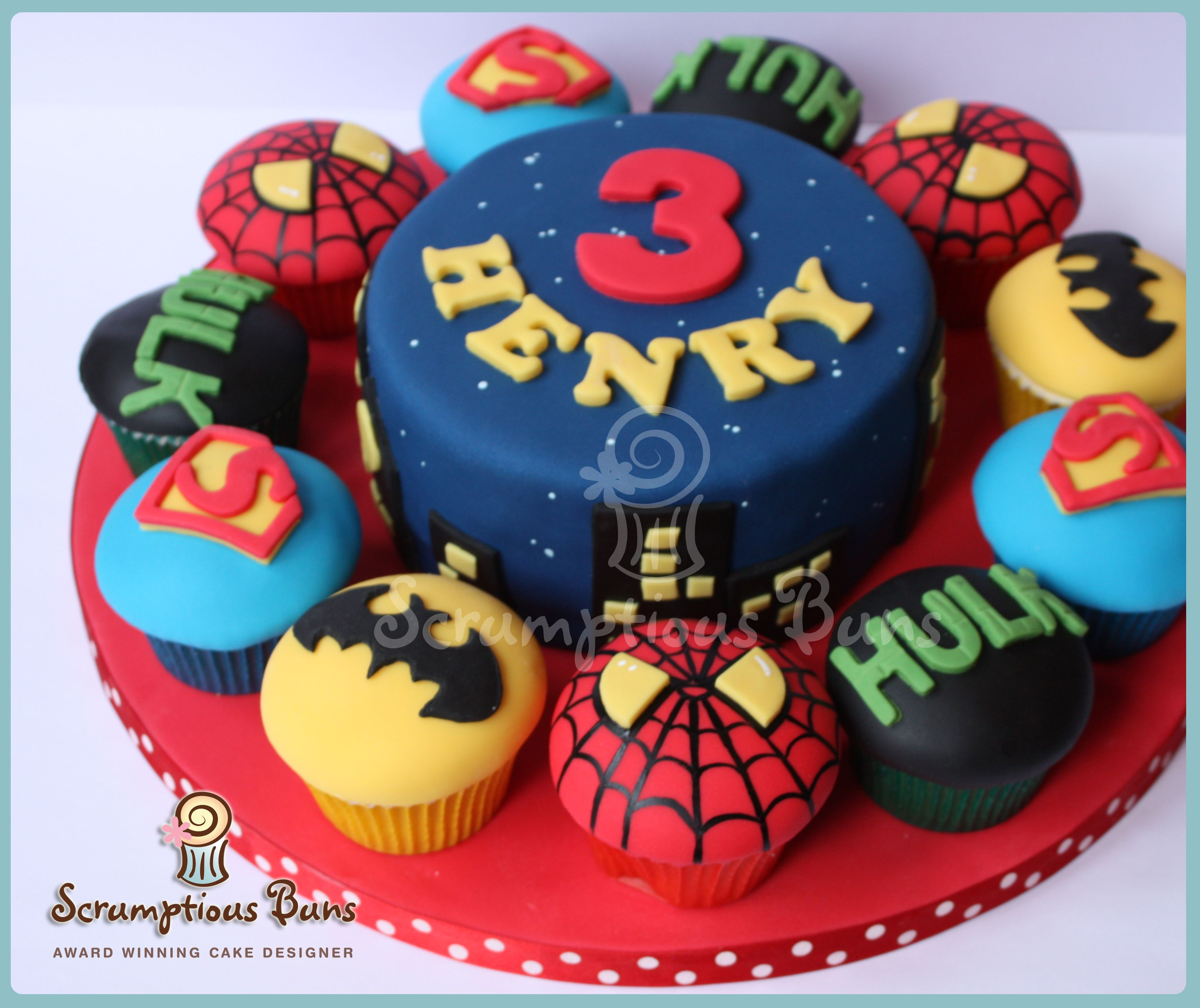 Big Cake Little Cakes Marvel Superhero Birthday Cake