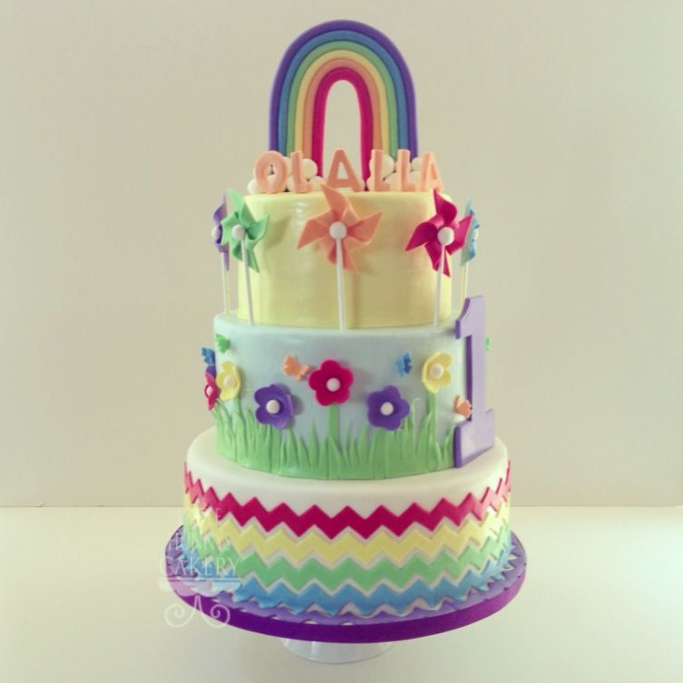 Rainbow Themed First Birthday Cake Chevron Cake Rainbow Cake