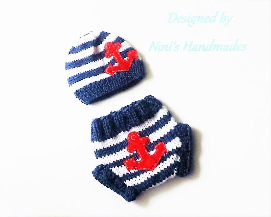 Knit Anchor Diaper Cover Set