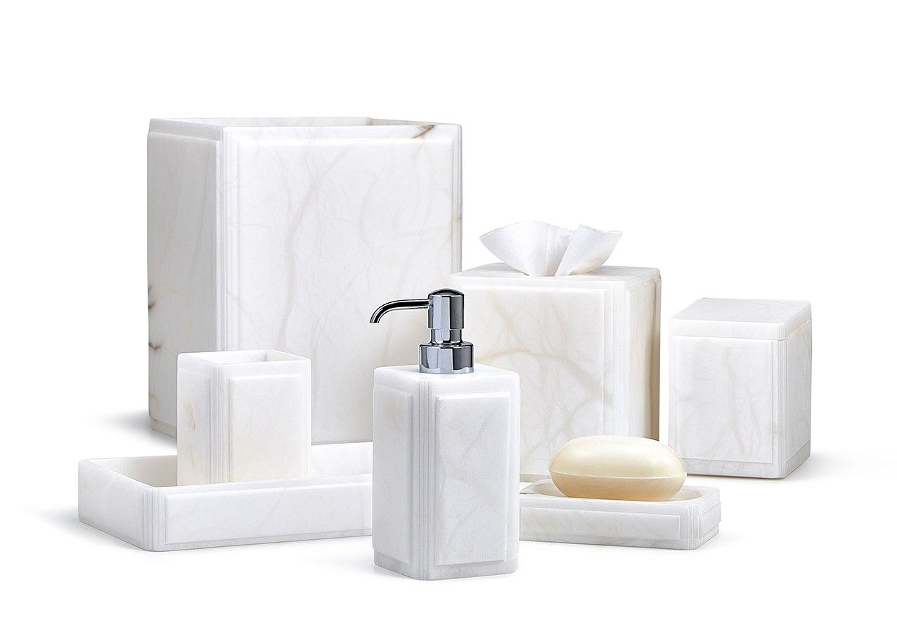 Claudia Luxury Bath Accessories In Snowy White Italian Alabaster