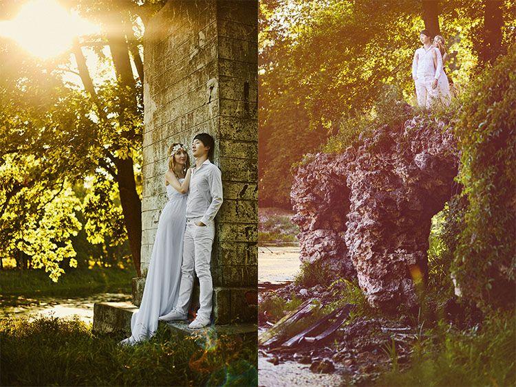 Romantyczny plener ślubny w Ruinach przy Pałacu Kreutz - fotografia: WojciechBalczewski