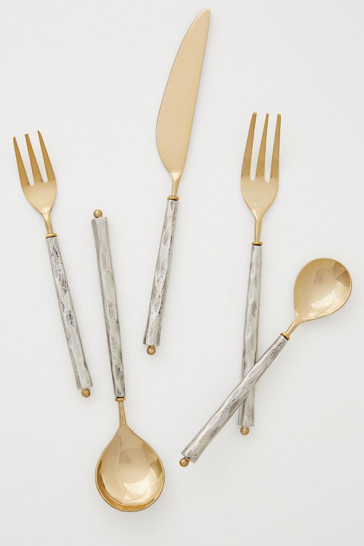 5pcs Durable Useful Simple Flatware Set Dinnerware Set for Home Restaurant