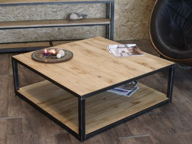Table basse bois m tal style industriel meubles et for Entree style industriel