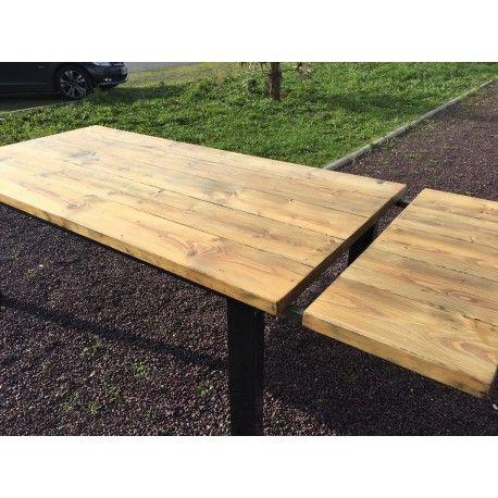 meuble industriel table de salle a manger + rallonge   home sweet