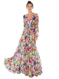 07c078327780 Chiffon Maxi Dress Floral Print Long Sleeve V Neck Pleated Long Dress With  Sash