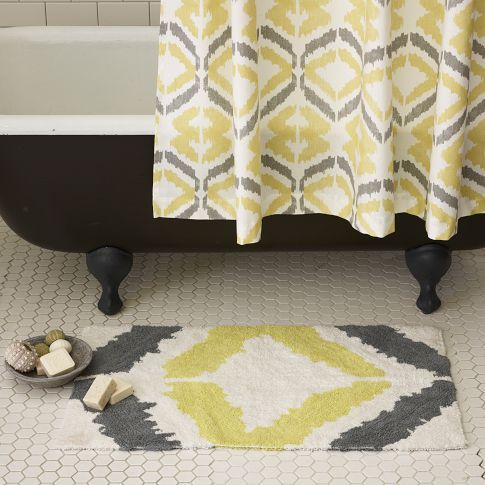 Ikat Patterned Shower Curtain And Bath Mat Ikat Pinterest - Yellow and grey bath mat for bathroom decorating ideas