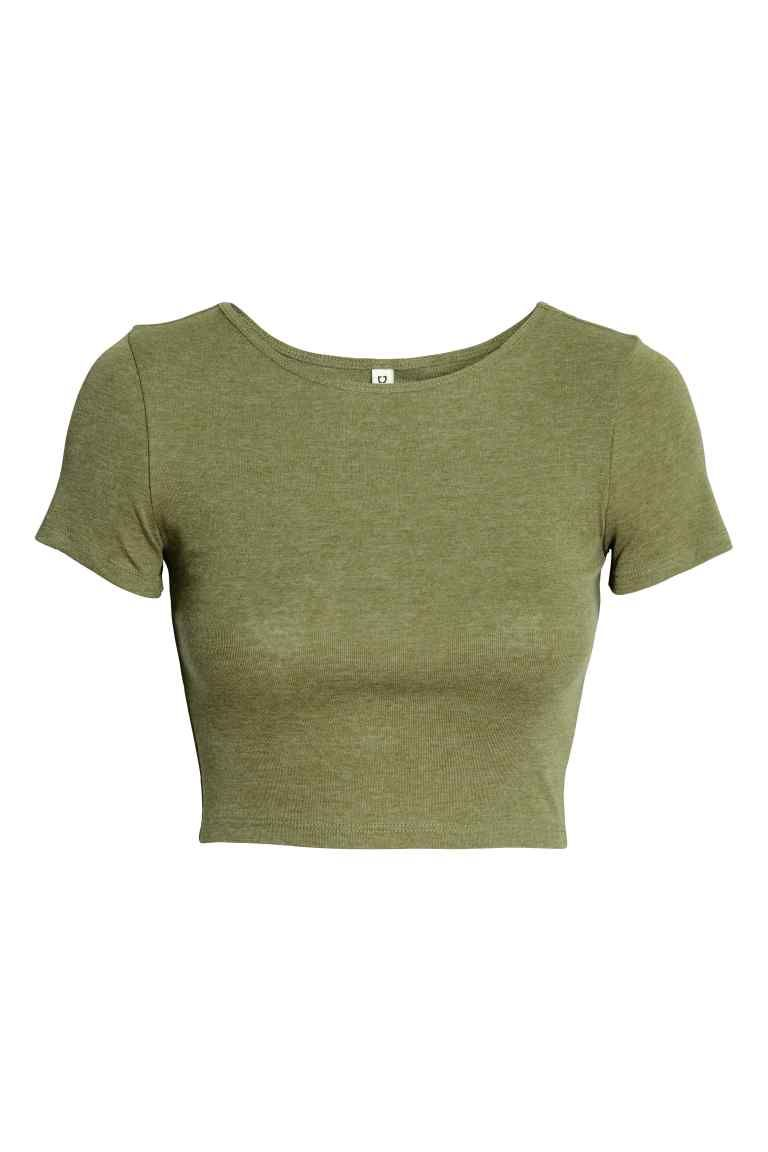 Cropped Top Khaki Green Ladies H M Gb Tops Crop Top Outfits Aesthetic Shirts