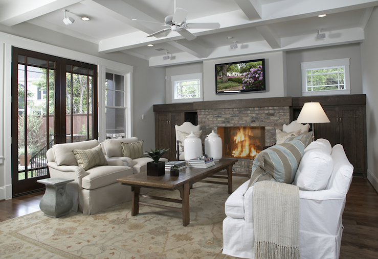 Ashley Goforth Design   Living Rooms   Coffered Ceiling, Craftsman Living  Room, Brick Fireplace, Fireplace Built Ins, Fireplace Built In Cab. Part 46