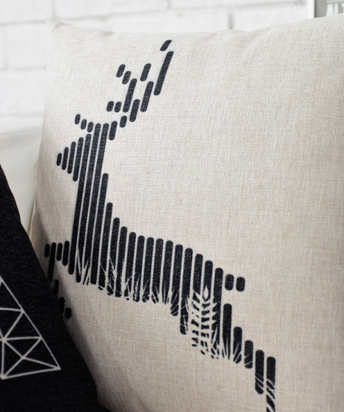 Black & White Deer Pillow Case