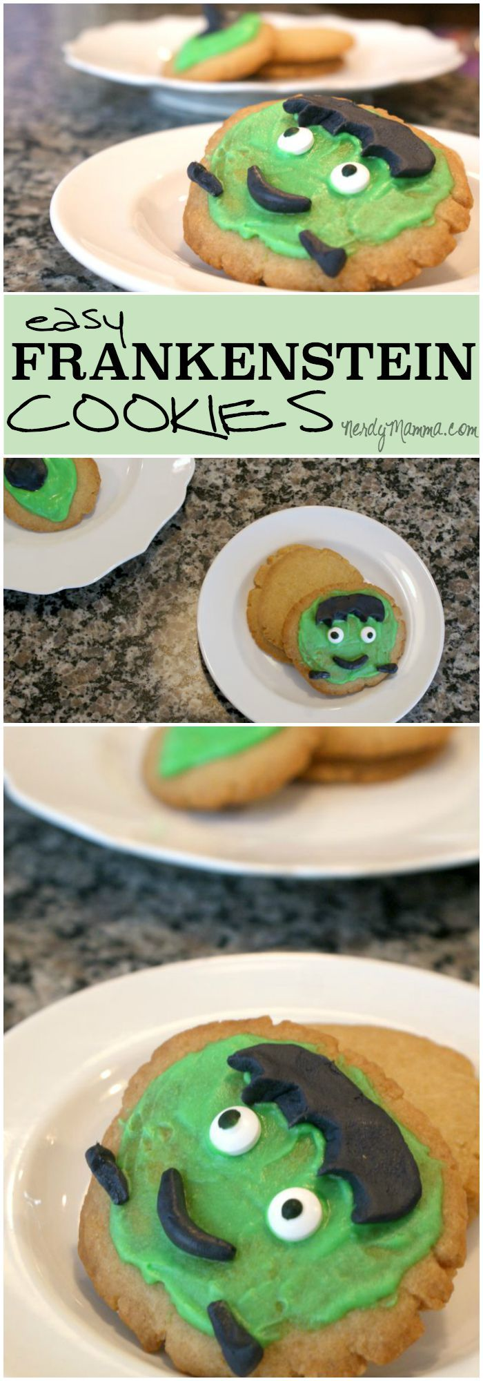My whole family had fun decorating these silly frankenstein cookies for halloween.