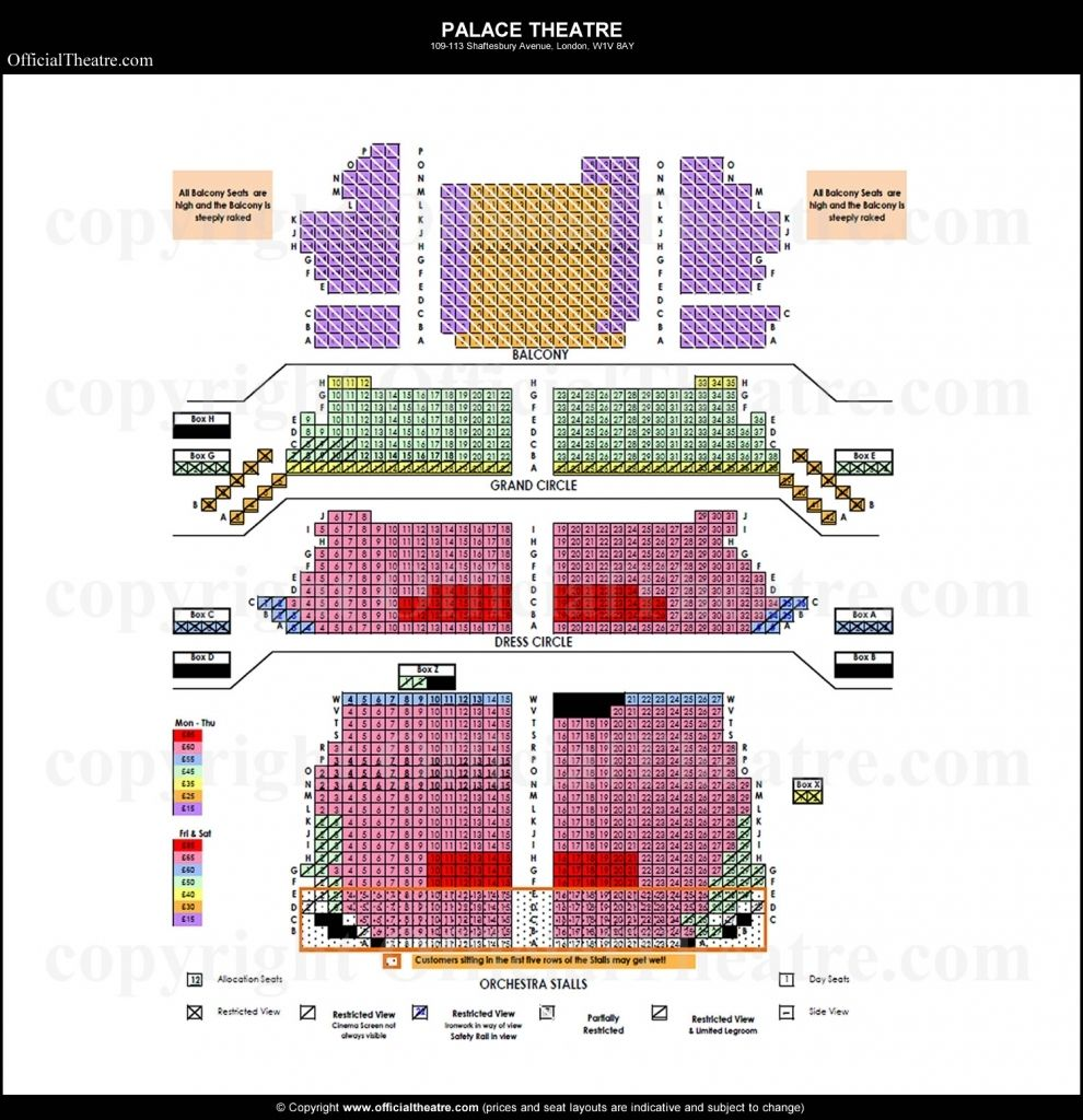 The Most Stylish And Gorgeous Palace Theatre Seating Plan Seating Plan Seating Charts Theater Seating