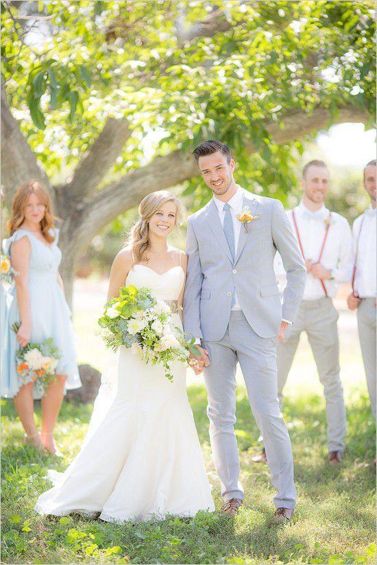 Light Gray Groom Attire For Summer Wedding