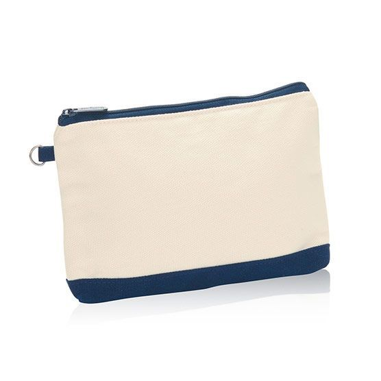 Thirty One MINI Zipper Pouch in Natural With Navy NEW