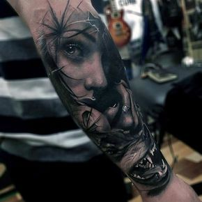 Masculine Female Portrait With Wolf Mens Forearm Sleeve Tattoo ...