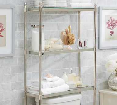 Metal Over The Toilet Etagere Polished Nickel Finish