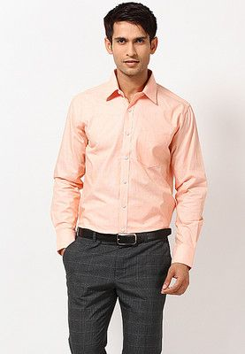 Peach coloured formal shirt for men by TNG. Made from cotton, this ...
