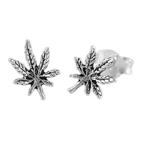 Sterling Silver Cannabis Leaf Stud Earrings