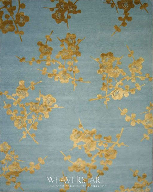 Spray Emma Gardner Fl Area Rug Blue Gold Tibetan