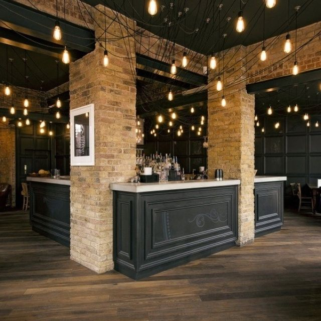 Restaurant Design   Great Inspiration Photo Front Of The Bar Treatment.Love  The Lights, Black, And Bricks