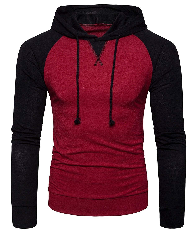 WHATLEES Mens Casual Hoodie Shirt SlimFit Pullover Hooded
