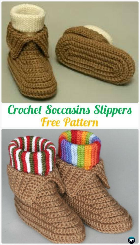 Crochet Men Slippers Shoes Free Patterns | Tejido, Zapatos tejidos y ...