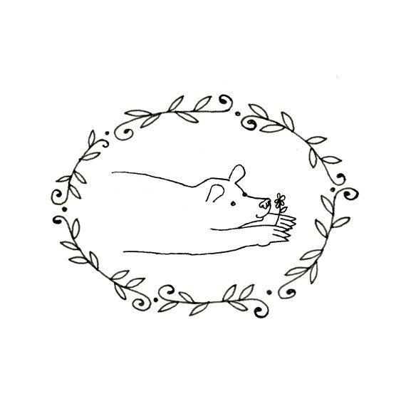 Hand Embroidery Bear Digital Downloadable Pattern pdf