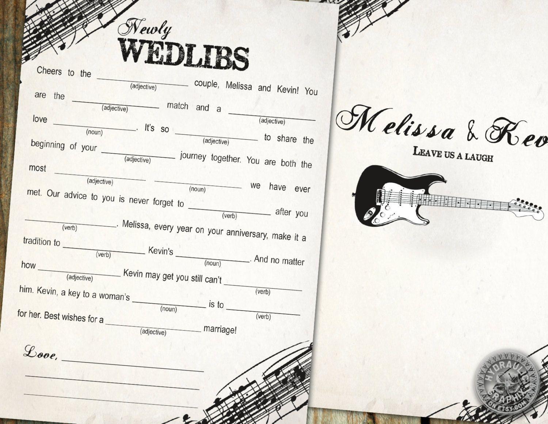 Rock N Roll Wedding Mad Libs with Guitar, Marriage Advice Mad Lib ...