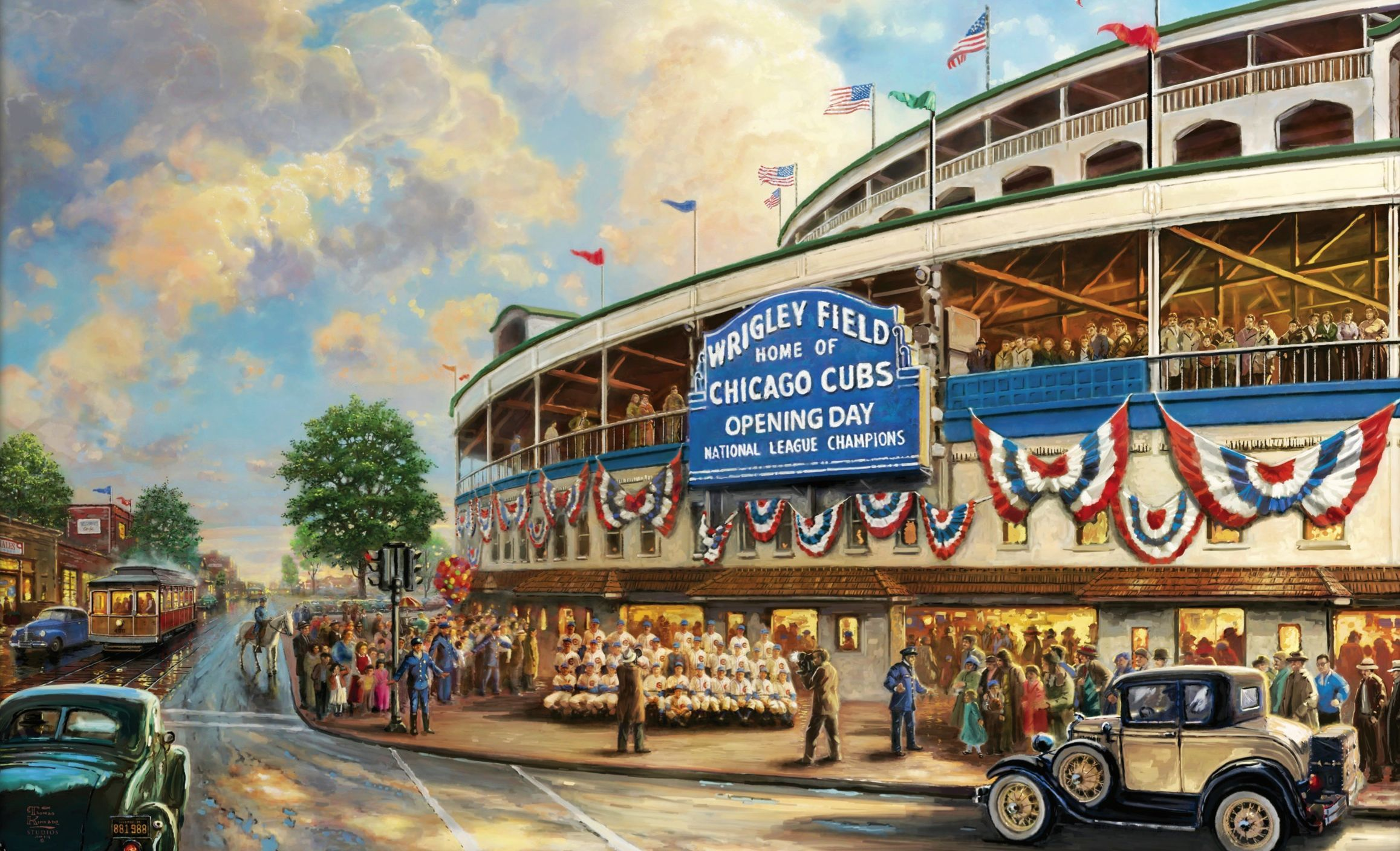 Home Of Chicago Cubs Street Cars Vintage 1777450 Wrigley Field Thomas Kinkade Chicago Cubs Wallpaper