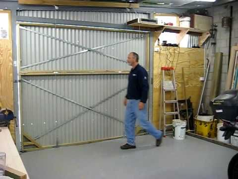 Hanger Style Bifold Door On My Shed 1 Diy Garage Door Bifold Doors Garage Doors