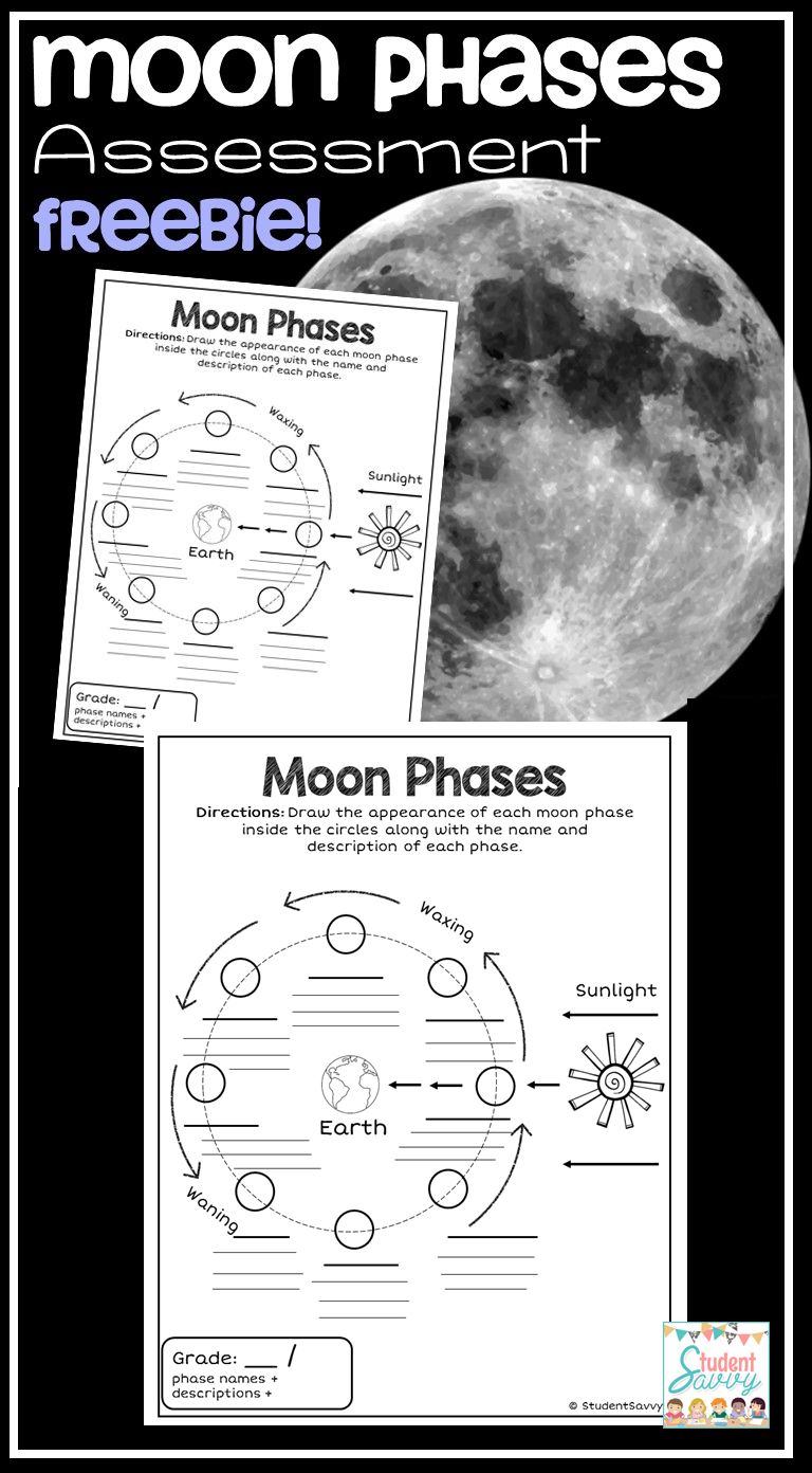 Moon Phases Free Teaching Resource Great To Use As An Assessment 6th Grade Science Fourth Grade Science Science Curriculum [ 1392 x 768 Pixel ]
