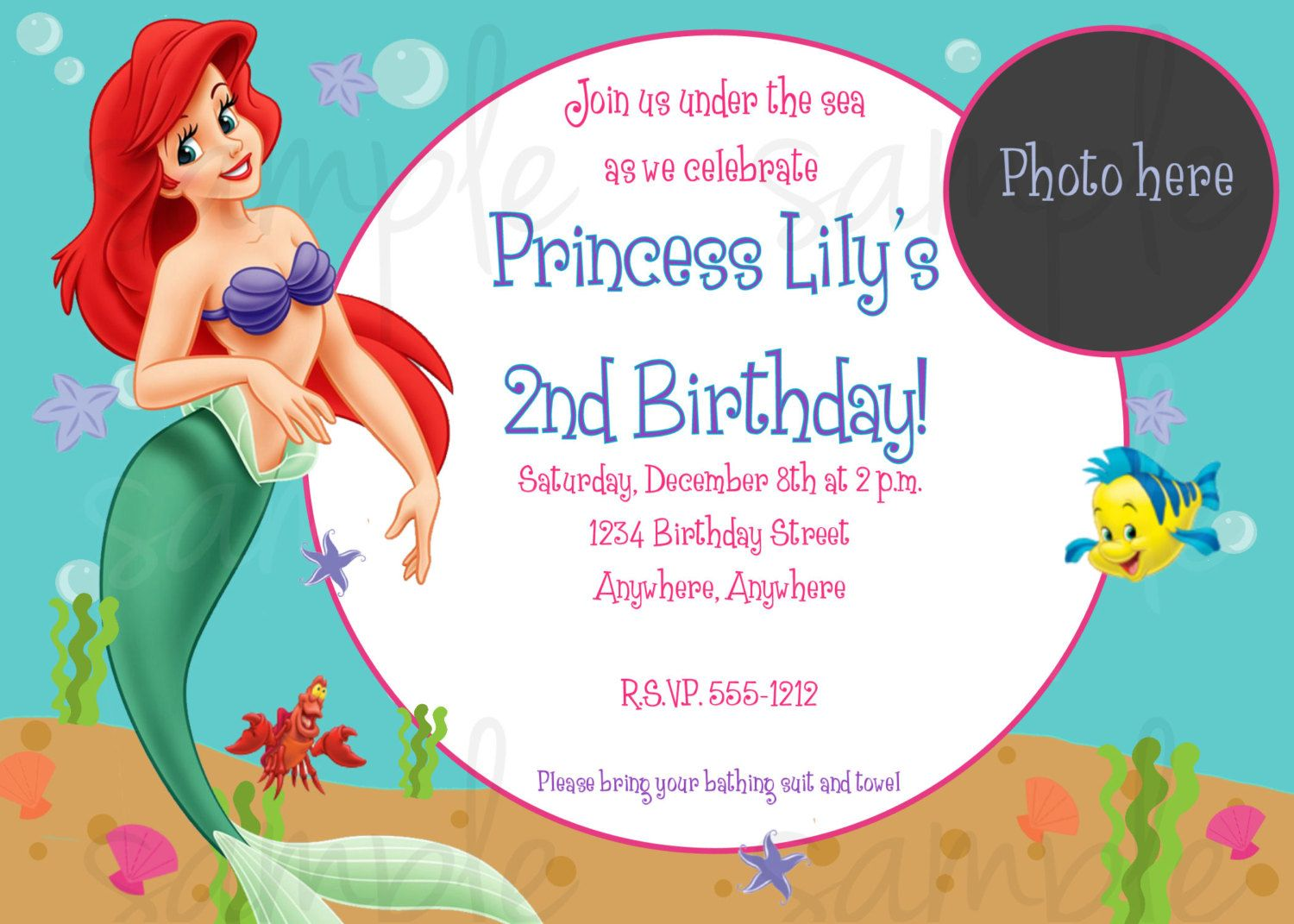 Nice Free Printable Birthday Invitations Ariel Mermaid Bagvania
