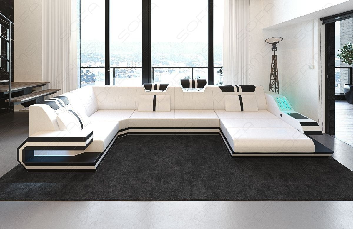 Design Sectional Sofa Hollywood U Shape With Led And Usb Fabric