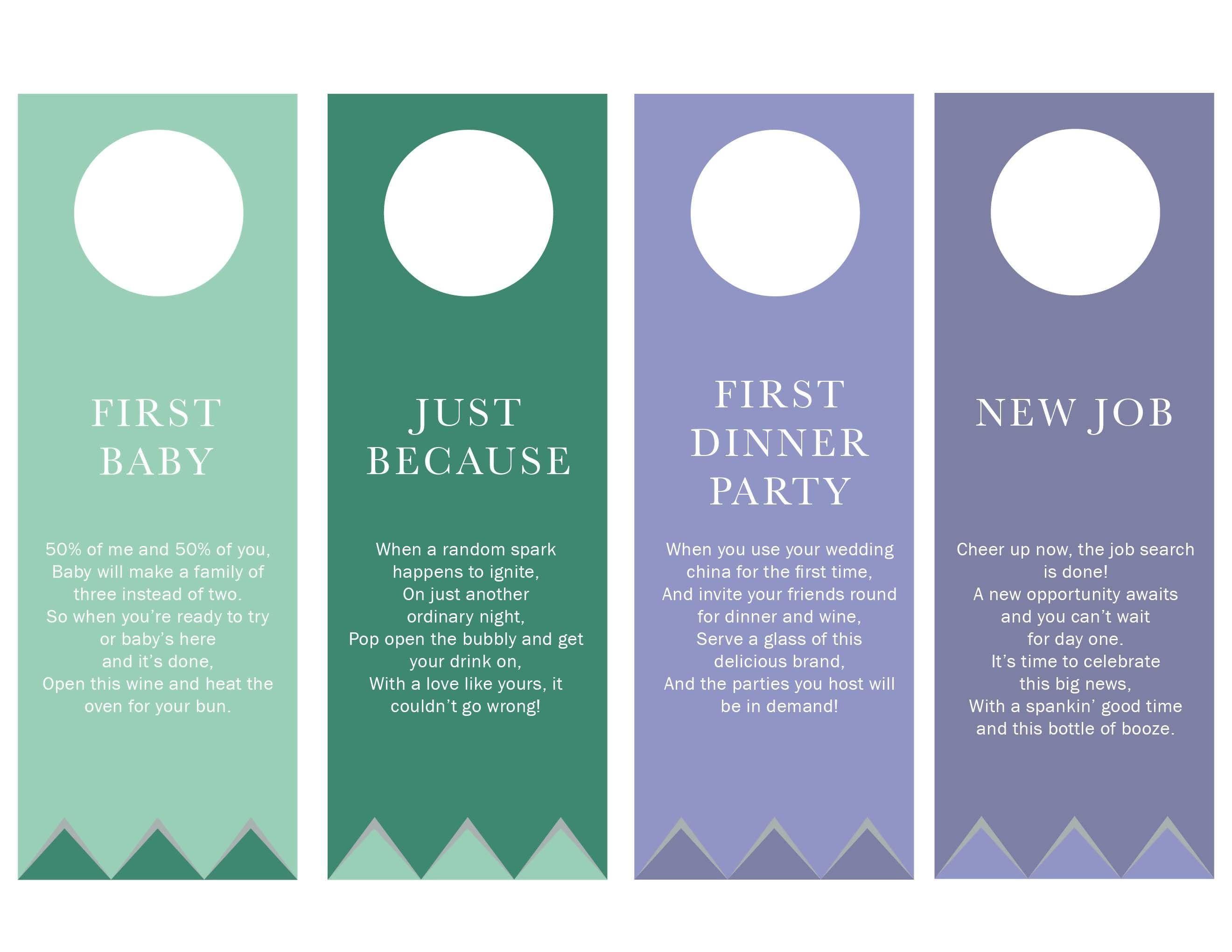 Printable Poem Gift Tags For Bridal Shower Wine Basket