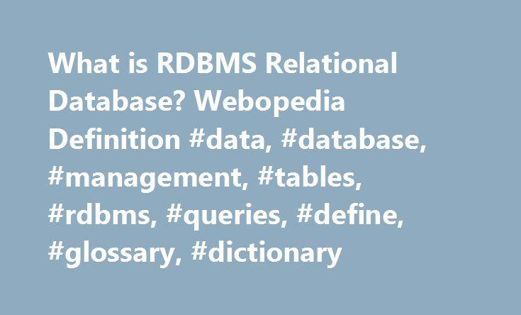 What is RDBMS Relational Database? Webopedia Definition #data