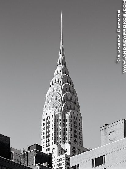 chrysler building black and white wallpaper. chrysler building spire with rooftops fine art photo by andrew prokos black and white wallpaper