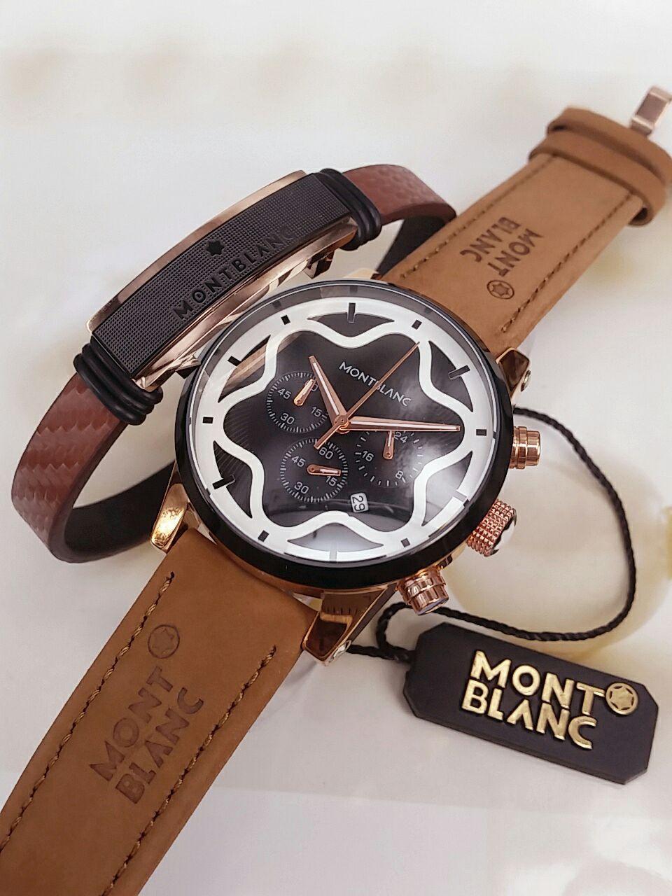 لطلب واتس اب 0543221247 طقم ساعات من ماركة مونت بلان ساعه وسواره جلد طيبيعي 280 الحبه حبتين 500 ريال Fashion Watches Leather Leather Watch