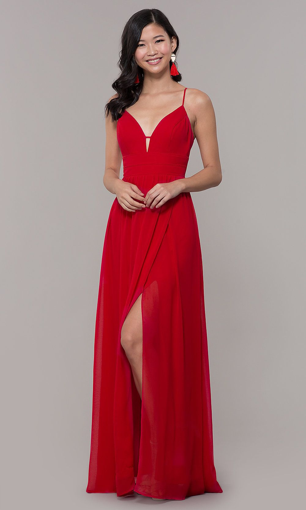 bf2eedf4a80 Long Strawberry Red V-Neck Prom Dress. Cheap ...