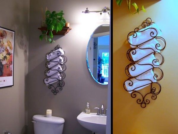 Mount A Wine Rack For Storing Towels Great Guest Bathroom Or - Wall towel rack rolled towels for small bathroom ideas