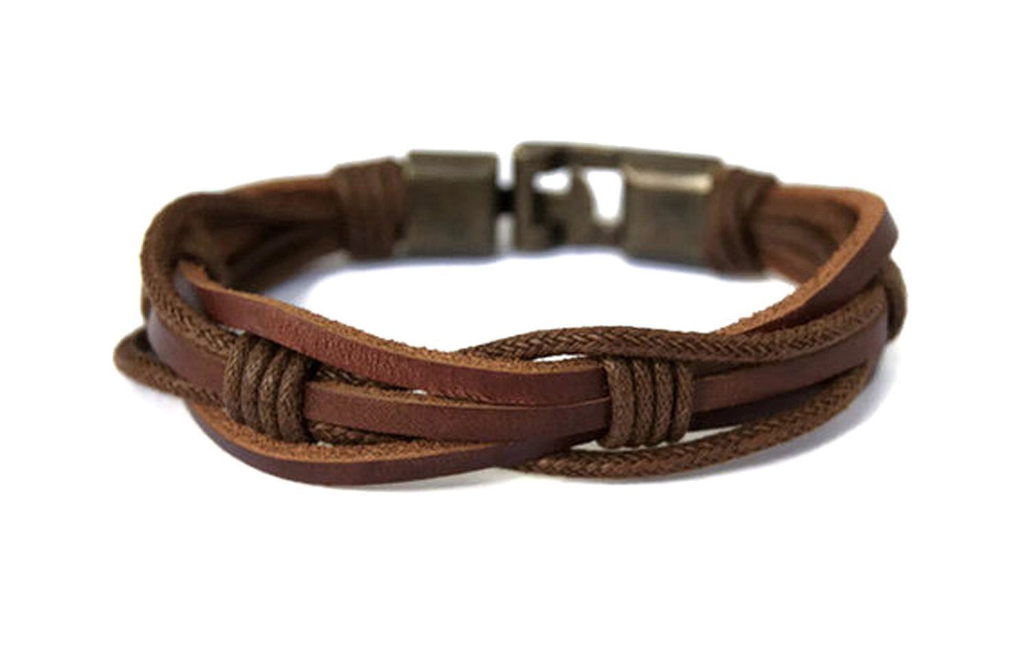Mens Leather bracelet Multi Strand Braided leather bracelet Fianc