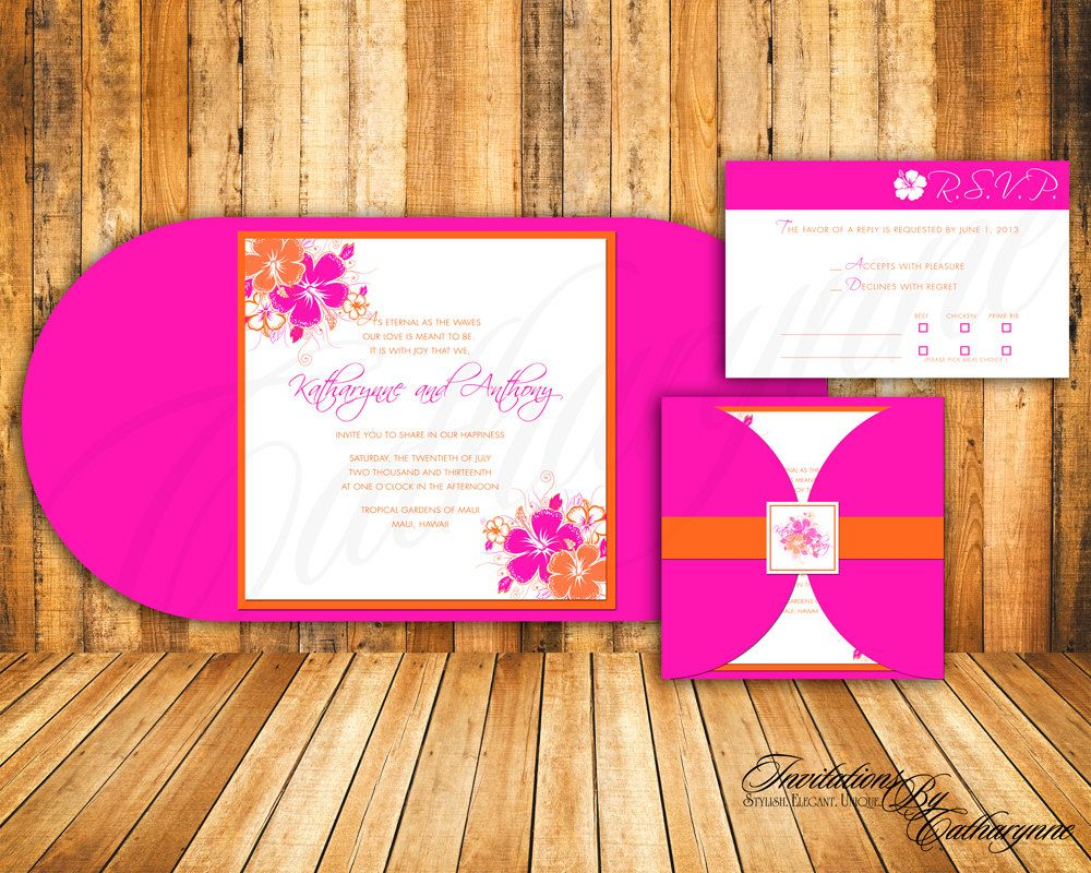 Tropical Wedding Invitations in Hot Pink and Orange for Destination ...