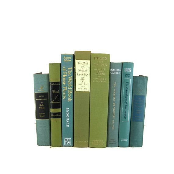 Green blue vintage decorative book set for book home decor gift for book lover