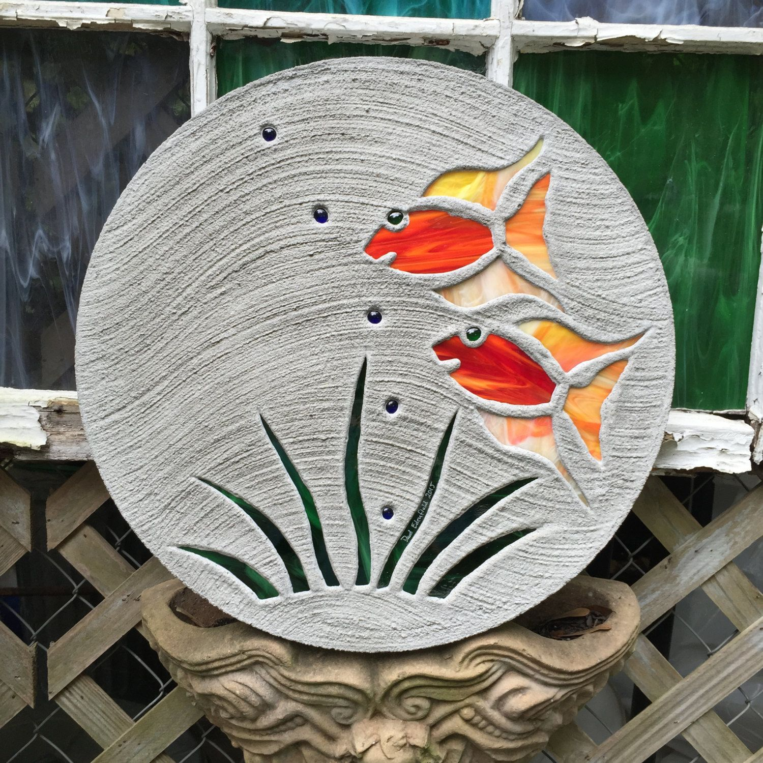 Big stained glass stepping stone pretty tropical fish for Garden pool ornaments
