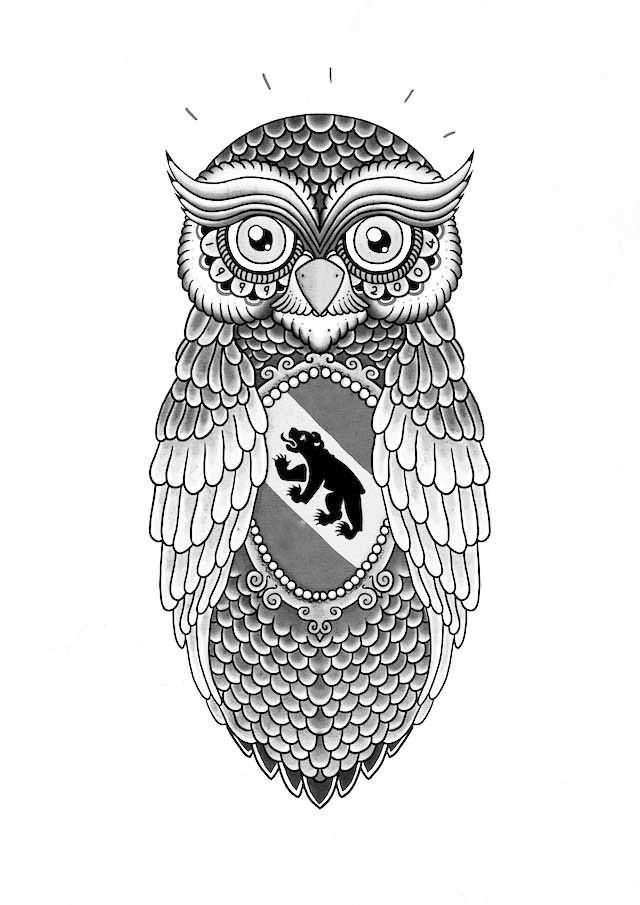 62f4a9eb3 Black Bear In Owl Tattoo Design | Bear Tattoo Designs | Geometric ...