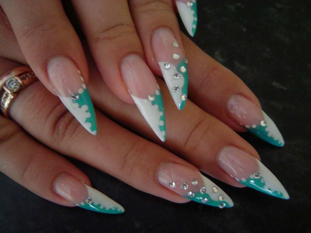 Nails Claws two-tone french with rhinestones | Nail Art | Pinterest ...