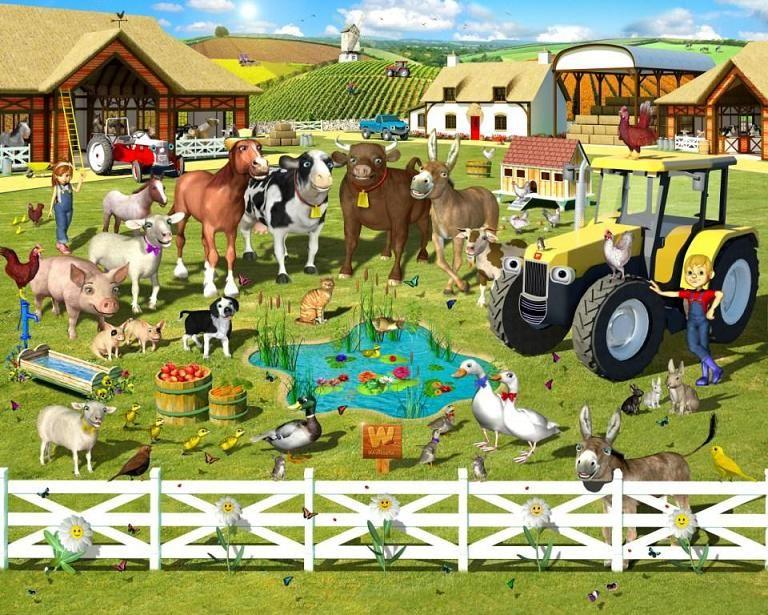 Fototapete kinderzimmer bauernhof  farmyard kids room | Farm Yard Wallpaper Mural | Kids Murals ...