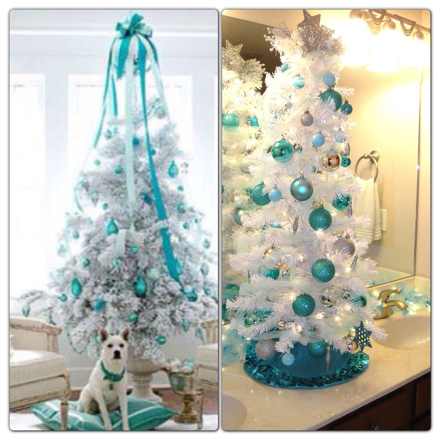 white and tiffany blue christmas tree on bathroom counter picture dac1d49c4fd17bc4da2bf080db40ee98 203858320605669595 blue christmas ornaments with white - Tiffany Blue Christmas Decorations