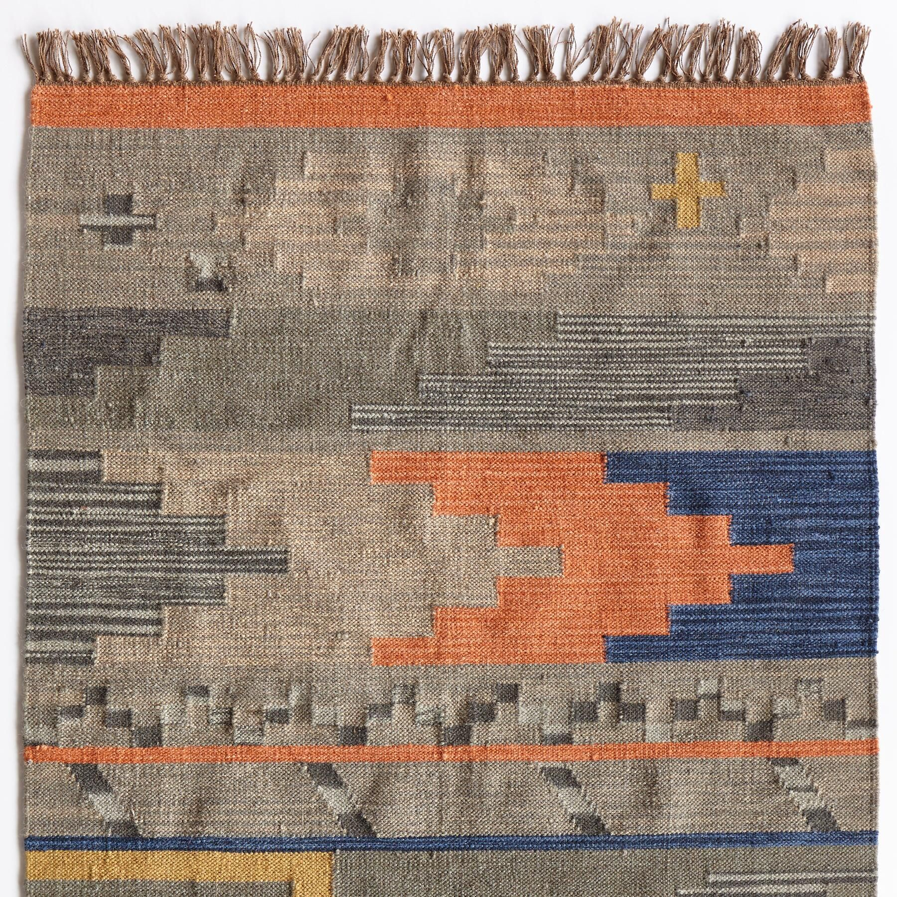 TERROIR DHURRIE RUG - SM--A fresh take on a timeless style, bright earthen colors please in a lively, contemporary design. Wool. Imported. Exclusive. 2-1/2' x 8'